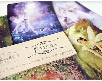 SALE Faeries Set of 10 Fairy Themed Art Postcard Prints, Assorted Fantasy Illustrations from Ginger Kelly, Set A