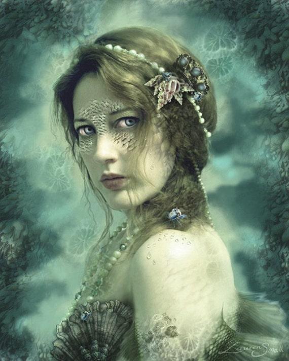 Mermaid Behind Her Mask, Postcard Art Print, Set of 10