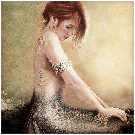 BOGO SALE Sea Faerie Mermaid Art Print  6 x 11 inch