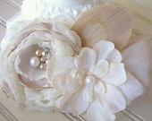 Woodland Wedding Hairpiece- White, Ivory, Cream, Bleached Peacock Feather, Pearl, Blossom