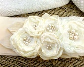 Woodland Wedding Bridal Satin Blossom Sash- White, Ivory, Cream, Bleached Peacock Feather, Pearl, Blossom, Antique Lace