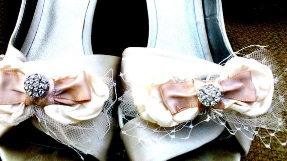 French Champagne Bridal Shoe Clips- White, Ivory, Cream, Champagne, Pave, Bow, French Netting