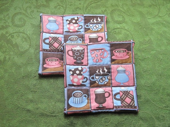 pink coffee set of 2 potholders hot pads