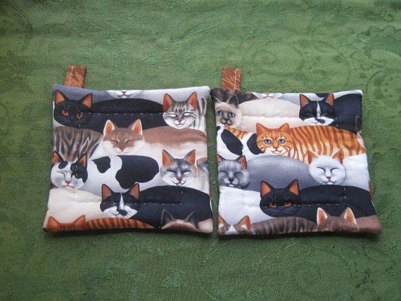 big cats set of 2 potholders hot pads