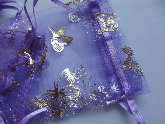Lavender and Gold Organza Bags Butterfly Jewelry Pouches - 15 Pieces