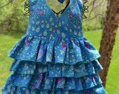 Blue Peacock Ruffle Halter Top--Custom Listing--