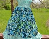 Blue Shirred Bodice Sundress--Custom Listing--