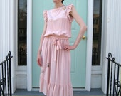 Pink Thatched Silk Picnic Dress 70s 80s Small Medium