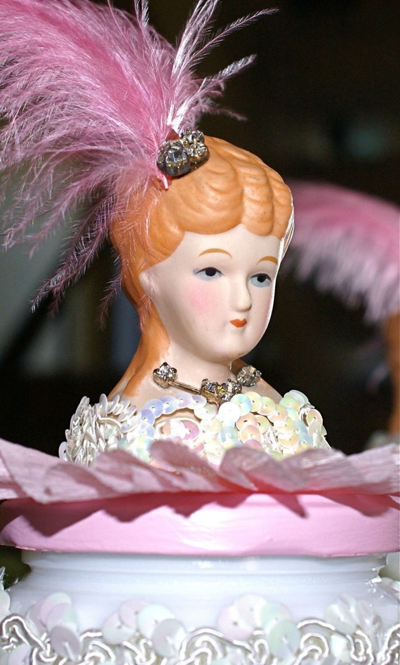 Josette French Can Can Dancer Art Doll Assemblage Mixed Media Milk Glass