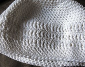 crocheted white cap