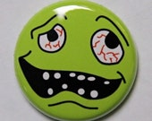 Drunk Smiley Face - Button Pinback Badge 1 inch