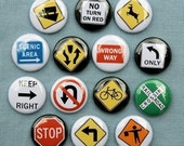 Traffic Road Signs 1 - Set of 14 Buttons Pinbacks Badges 1 inch - Flatbacks or Magnets