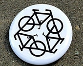 Recycle Bicycle White Button Pinback Badge 1 1/2 inch
