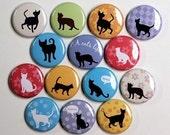 A Cat's Life - Set of 14 - Pinbacks Buttons Badges 1 inch - Flatbacks or Magnets