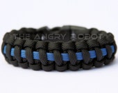 SLIM Paracord Survival Bracelet Cobra Deluxe - Thin Blue Line Police