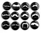 Mustaches Set of 12 - Pinbacks Buttons Badges 1 inch - Black