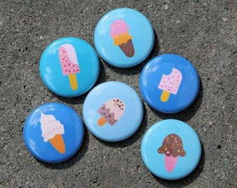 Ice Cream Blue - Set of 6 Buttons Pinbacks Badges 1 inch