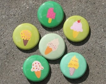 Ice Cream Green Set of 6 Buttons Pins Badges 1 inch