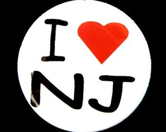 I Love NJ - Button Pinback Badge 1 inch