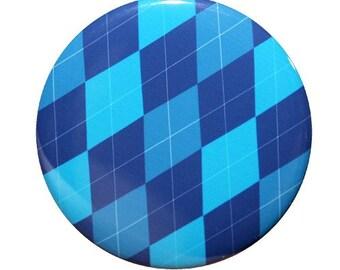 Blue Argyle Pocket Mirror 2 1/4 inch