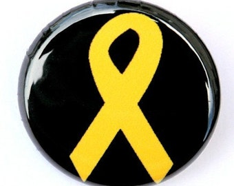 Yellow Awareness Ribbon - Button Pinback Badge 1 inch
