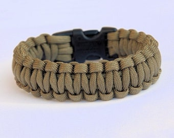 550 Paracord Survival Bracelet Cobra - Khaki