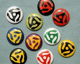 Record Adapter Set of 10 Buttons Pinbacks Badges 1 inch - Flatbacks or Magnets