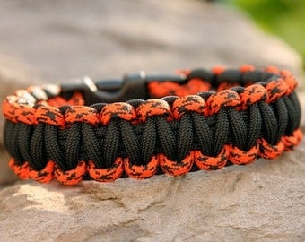 Paracord Survival Bracelet - Orange Camo and Black