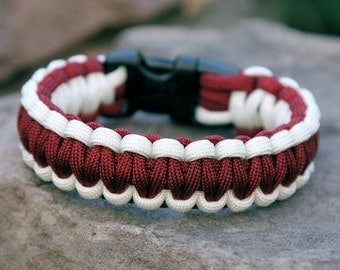 Paracord Survival Bracelet - White and Burgundy