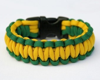 Paracord Survival Bracelet - Kelly Green and Yellow