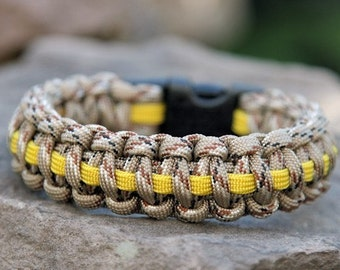 Paracord Survival Bracelet - Support Our Troops Desert Camo Deluxe