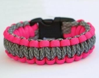 550 Paracord Survival Bracelet - Neon Pink and ACU Camo