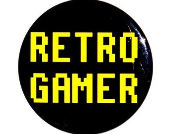 Retro Gamer - Pinback Button Badge 1 1/2 inch 1.5 - Magnet Keychain or Flatback