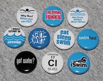 Swim Star Set of 10 - Pinbacks Buttons Badges 1 inch - Flatbacks or Magnets