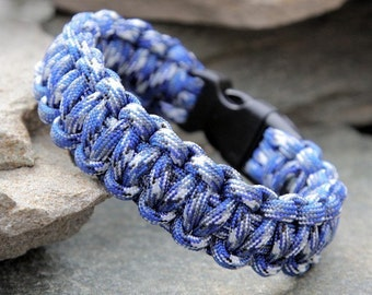 550 Paracord Survival Bracelet - Blue Camo