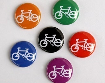 Bicycles - Set of 6 Pinback Buttons Badges 1 inch - Flatbacks or Magnets