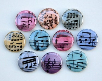 Colorful Musical Notes Set of 10 Pinback Buttons Badges 1 inch - Flatbacks or Magnets
