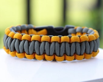 Paracord Survival Bracelet - Goldenrod and Foliage Green