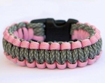 Paracord Survival Bracelet - Pink and ACU Camo