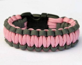 Paracord Survival Bracelet Cobra - Grey and Pink