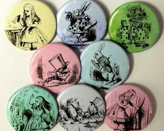 Alice In Wonderland Buttons Pinbacks Badges 1 1/2 inch Set of 8