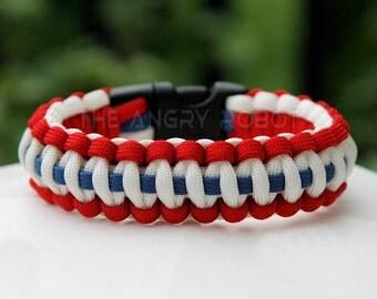 Paracord Survival Bracelet - Patriotic Red White Blue