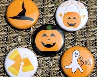 Happy Halloween Buttons Set of 5 Pinbacks Badges 1 inch