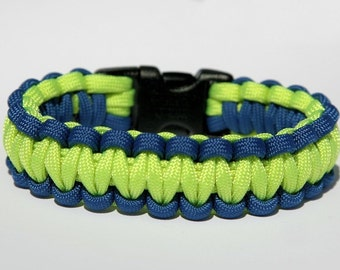 Paracord Survival Bracelet - Royal Blue and Neon Green