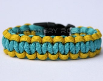 SLIM Paracord Survival Bracelet Cobra - Yellow and Turquoise