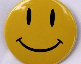 Yellow Happy Face - Button Pinback Badge 1 1/2 inch 1.5 - Magnet Keychain or Flatback