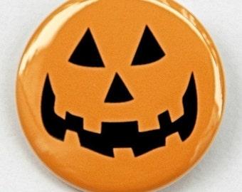 Jack O Lantern - Button Pinback Badge 1 1/2 inch 1.5 - Flatback, Magnet or Keychain