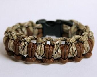Paracord Survival Bracelet Half Hitch Alt - Desert Camo and Brown