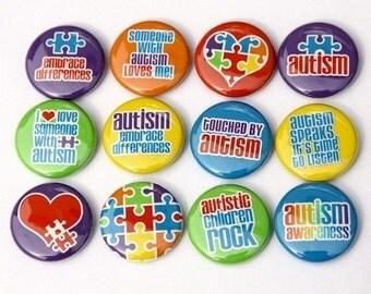 Autism Awareness Set of 12 - Buttons Pinbacks Badges 1 inch