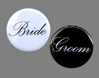 Bride And Groom Buttons Pinbacks Badges 1 1/2 inch Set of 2